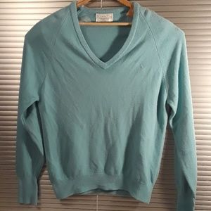 Christian Dior Men' V Neck Turquoise Sweater